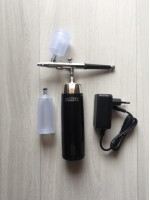 Kit Aerógrafo + Mini Compressor Sem Fio Preto Com Prata